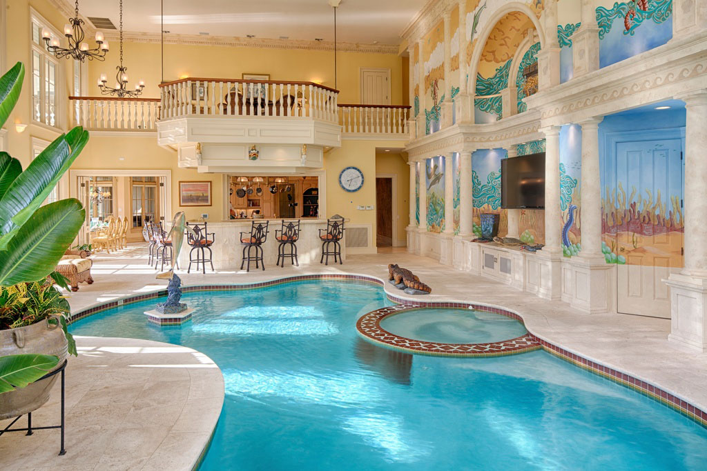 luxurious home pools - Big Mansions With Pools